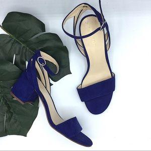 Nine West Blue Suede Sandals 7.5 Galletto Block